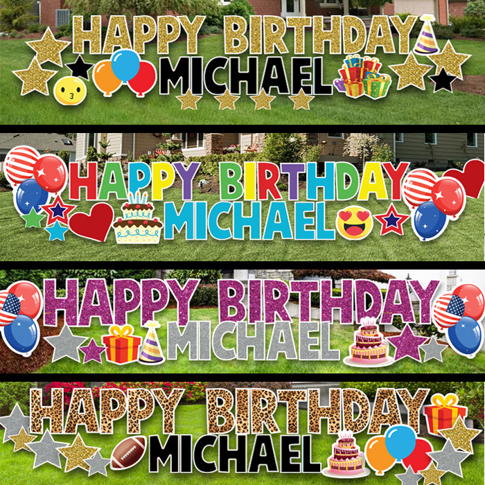 Happy Birthday Yard Card Signs